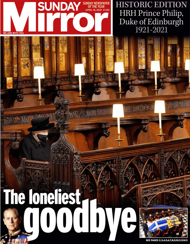 The Sunday Mirror front page 18 April 2021