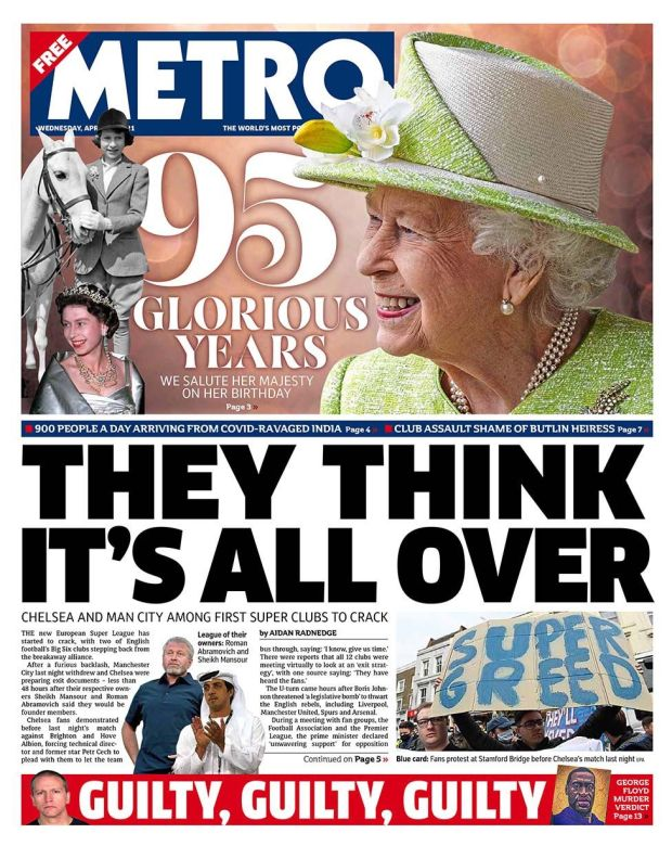 Metro front page 21.04.21
