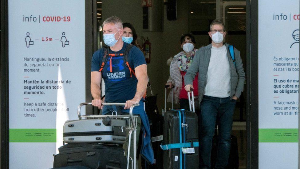 German passengers arrive in Majorca