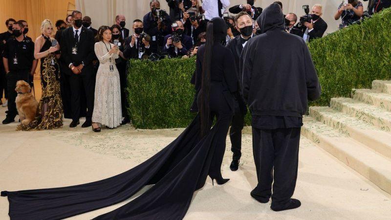 Kim Kardashian arrives with Kanye West