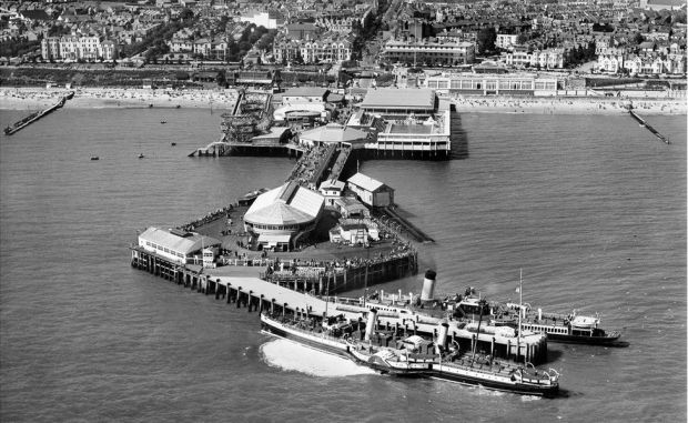 An aerial view of the pier, Clacton-on-Sea in Essex taken in August 1938