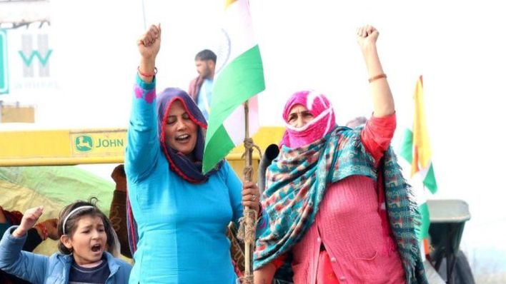 Women demonstrators rehearsing for the tractor rally proposed by farmers on Republic Day, near Sampla township in Rohtak district, on January 24, 2021 in Rohtak, India.