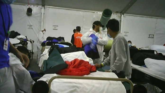 Image from inside one of the camp tents
