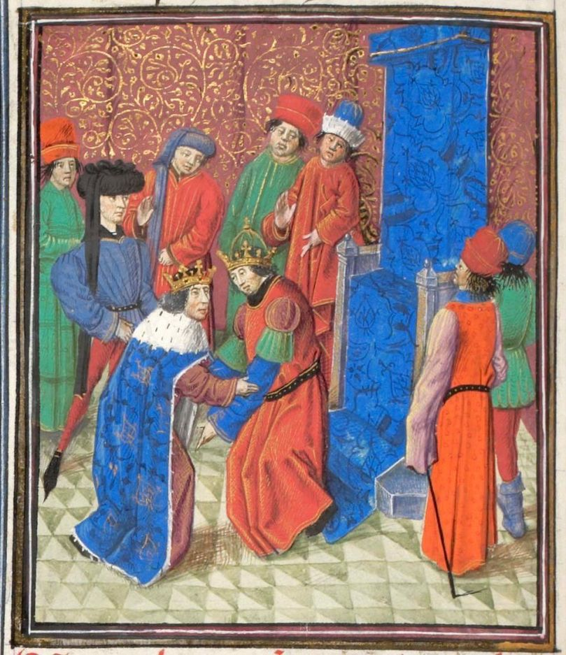 Emperor Manuel I Komnenos meets with king Amalric I of Jerusalem. Miniature from the Historia by William of Tyre, 1460s