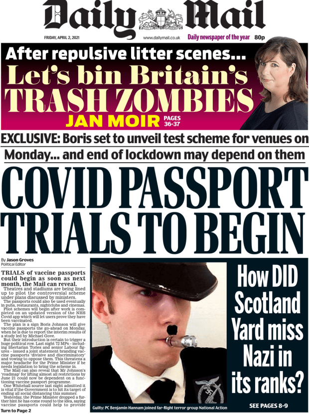 The Daily Mail front page 2 April 2021