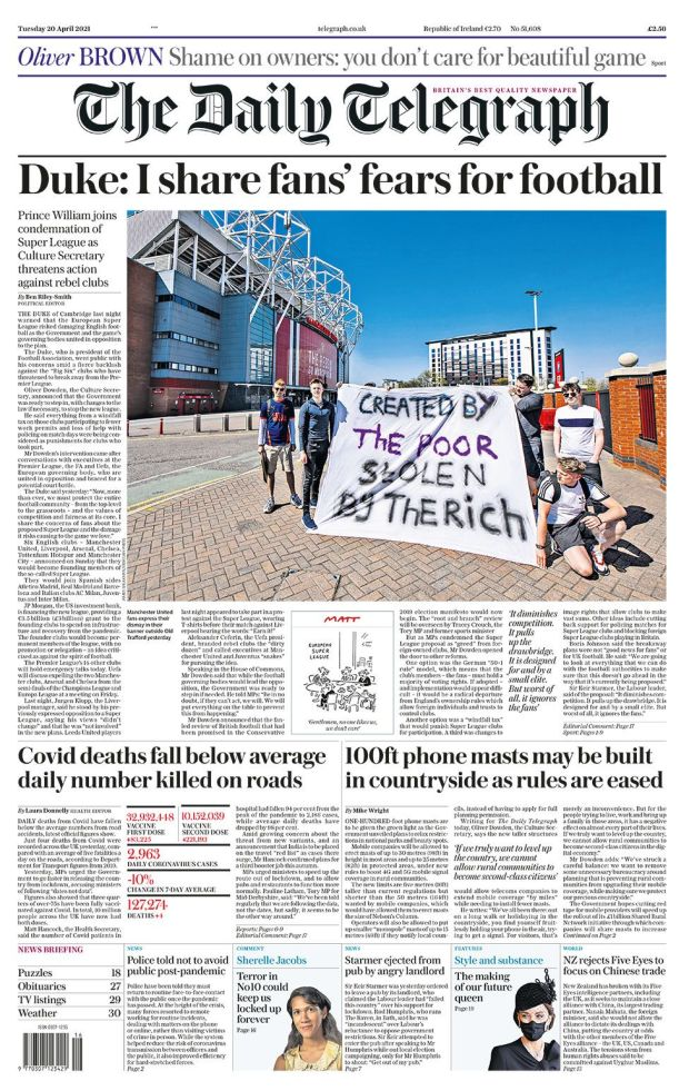 Telegraph front page 20.04.21