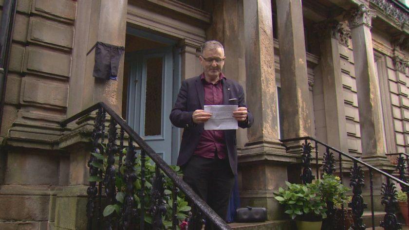 Lecturer James McIvor outside the house where Deborah Kerr was born