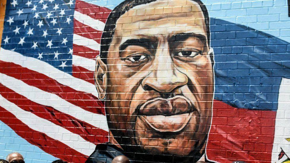 George Floyd wall mural in Brooklyn