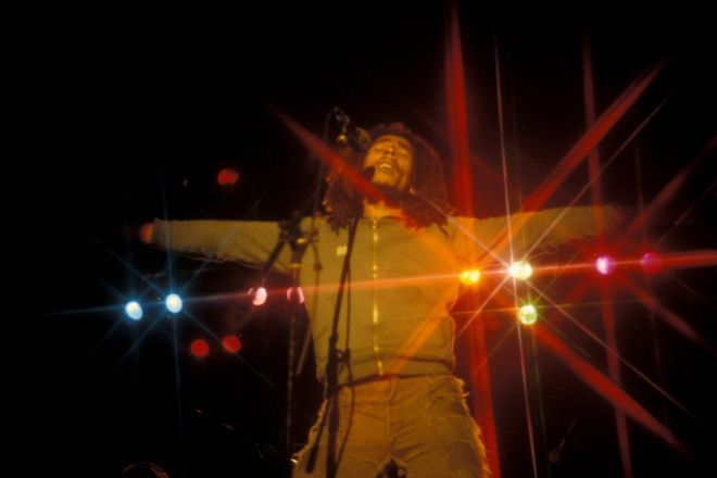 Bob Marley performs at the West Coast Rock Show at Ninian Park in Cardiff, Wales, in 1976