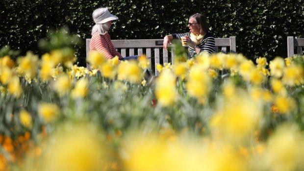 Two women visitors enjoying the sun at the Royal Botanic Gardens, Kew, in south-west London