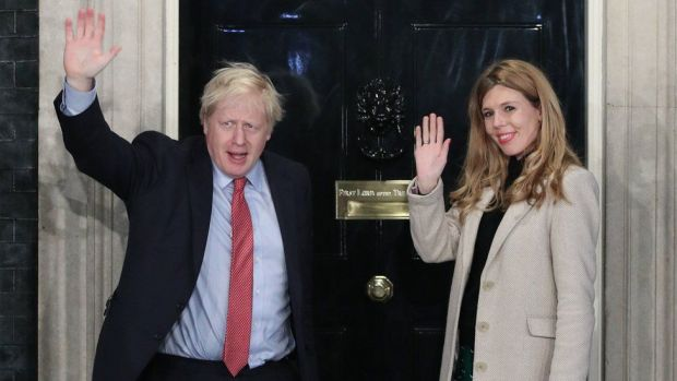 Boris Johnson and Carrie Symonds outside Downing Street