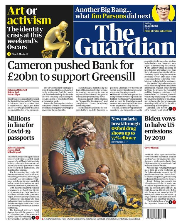 The Guardian front page 23.04.21