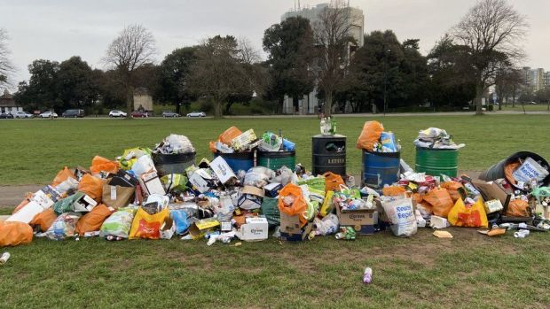 Litter collected in The Downs, Bristol
