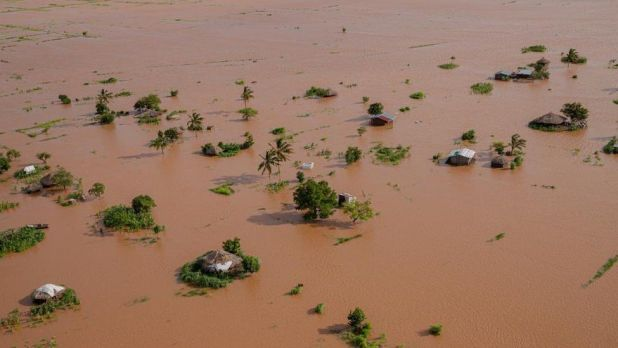 Aerial view of the flooding