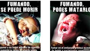 Advertencias gráficas en paquetes de cigarrillos en Uruguay