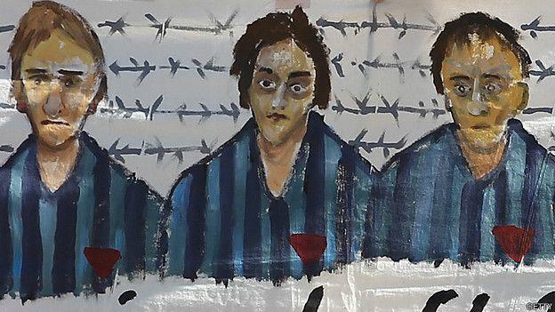 Detalle de pancarta en ceremonia para recordar a las mujeres de Ravensbrück