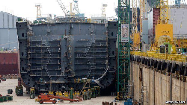 Vista de uno de los barcos en construcción