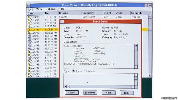 Imagen de la navegación con el Windows NT de Microsoft, lanzado en 1993