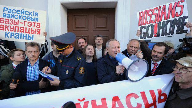 Владимир Некляев на митинге против размещения российской авиабазы в Белоруссии