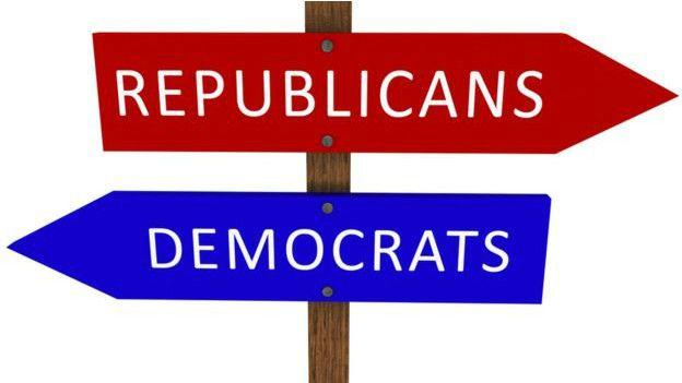 Carteles en inglés de Republicanos y Demócratas