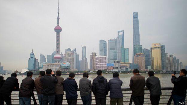 La línea del horizonte del distrito de Pudong