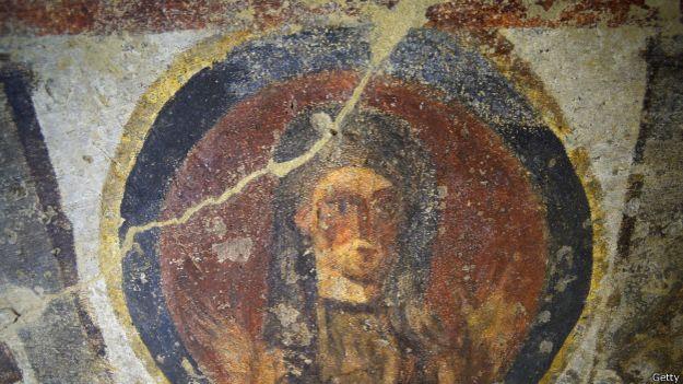 Un fresco restaurado de las catacumbas de Santa Priscila