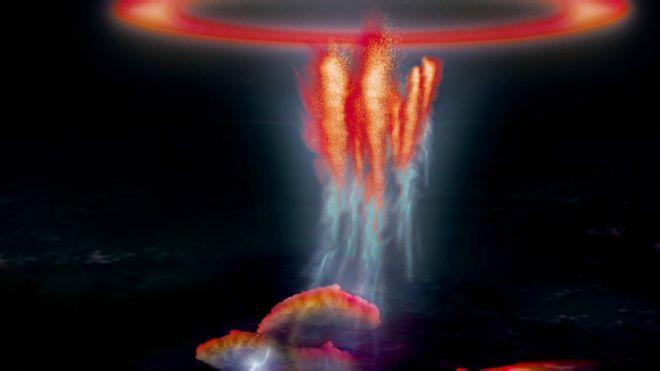 """Ilustración de cómo se vería un """"duende"""" sobre un resplandor rojo"""
