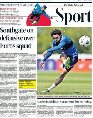 The Telegraph points to England's Euro 2020 squad being named