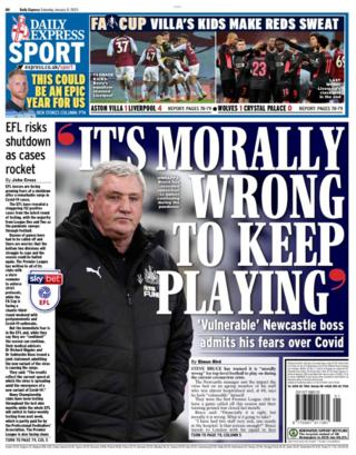 The back page of Saturday's Daily Express