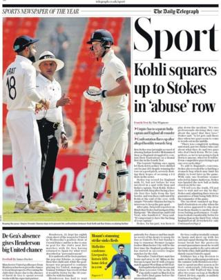 Friday's Daily Telegraph sports pages