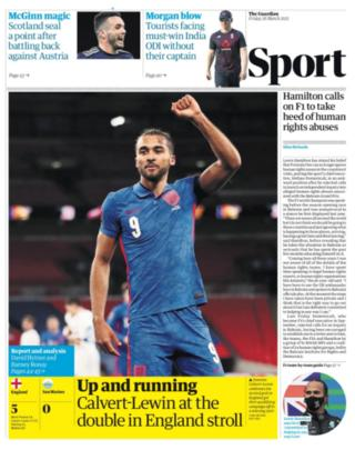 The Guardian's back page on Friday