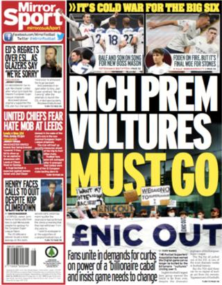 The Mirror focuses once more on the European Super League fall out