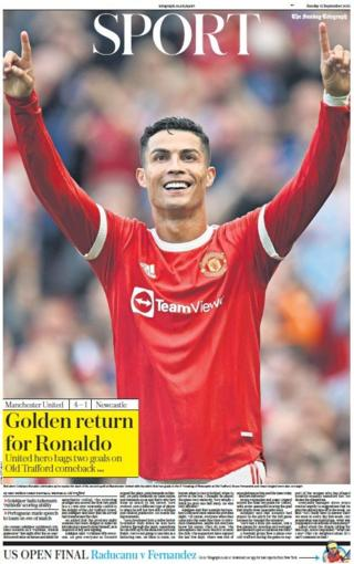 The front page of the Sunday Telegraph sport section