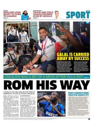 Tuesday's Metro back page with a picture of Romelu Lukaku and the headline 'Rom his way'