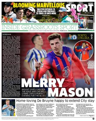 Thursday's back pages: Metro - 'Merry Mason'