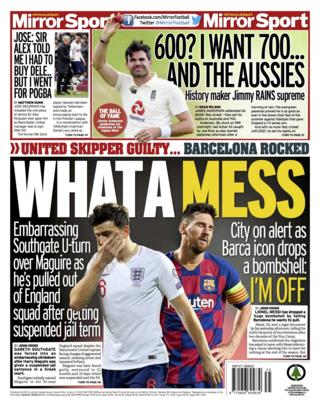 Wednesday's Mirror back page with the headline 'What a Mess' and a picture of Lionel Messi