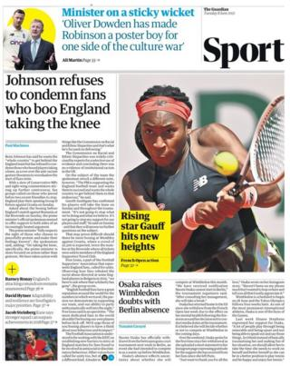 Tuesday's Guardian back page