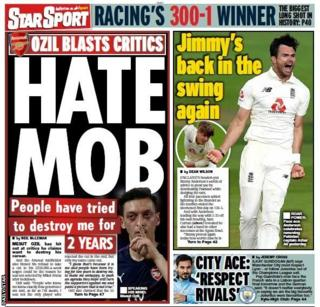 Friday's Star back page - 'Hate mob'