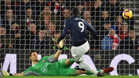 Romelu Lukaku scores for Manchester United against Southampton