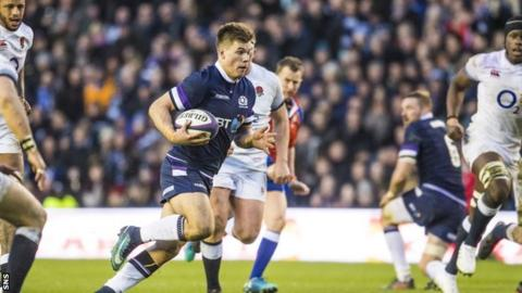 Scotland's Huw Jones playing against England