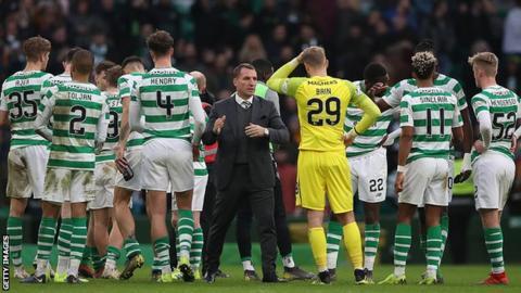 Brendan Rodgers addresses his Celtic squad