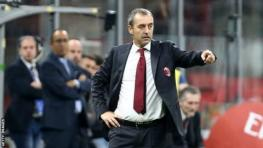 Former AC Milan manager Marco Giampaolo points on the sidelines