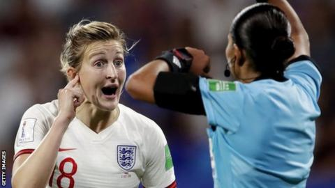sport Ellen White with referee at World Cup