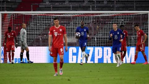 Bayern Munich's players react after conceding against Chelsea in the Champions League