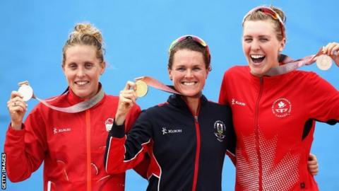 Triathlon silver medallist Jessica Learmonth of England (left) at the medal ceremony