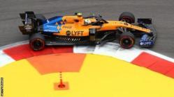 Lando Norris driving a McLaren in practice for the Russian Grand Prix