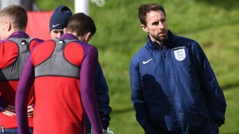 England manager Gareth Southgate at training
