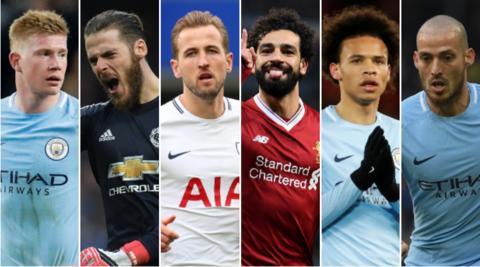 Kevin de Bruyne, David de Gea, Harry Kane, Mohamed Salah, Leroy Sane and David Silva