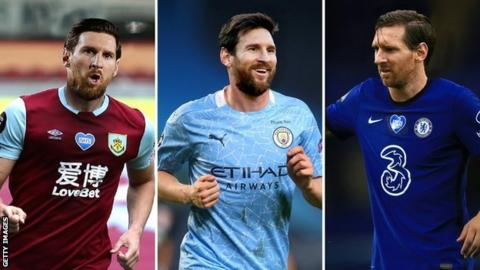 A mock-up of how Lionel Messi might look playing for Burnley, Manchester City and Chelsea