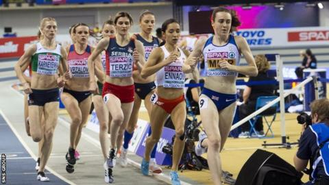Muir defended her 1500m and 3000m European Indoor titles in Glasgow